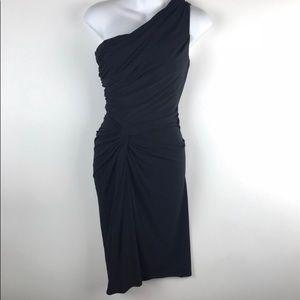 Maggy London one shoulder black dress